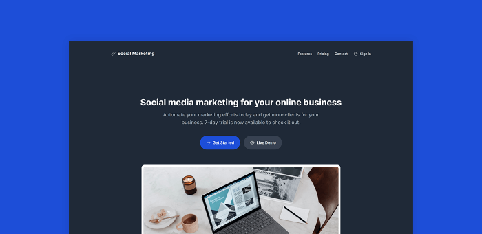 Featured Image of Marketing Web App Tailwind